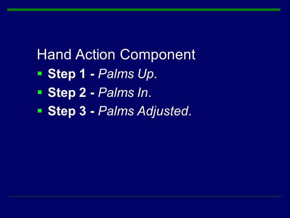Hand Action Component  Step 1 - Palms Up.  Step 2 - Palms In.  Step 3 - Palms Adjusted.