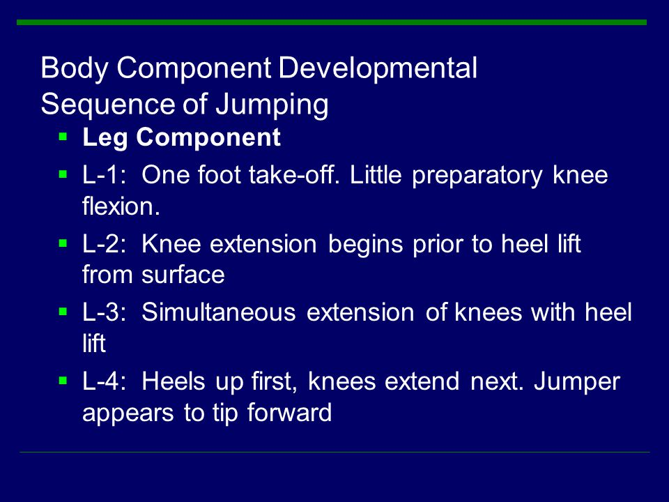  Leg Component  L-1: One foot take-off. Little preparatory knee flexion.  L-2: Knee extension begins prior to heel lift from surface  L-3: Simulta