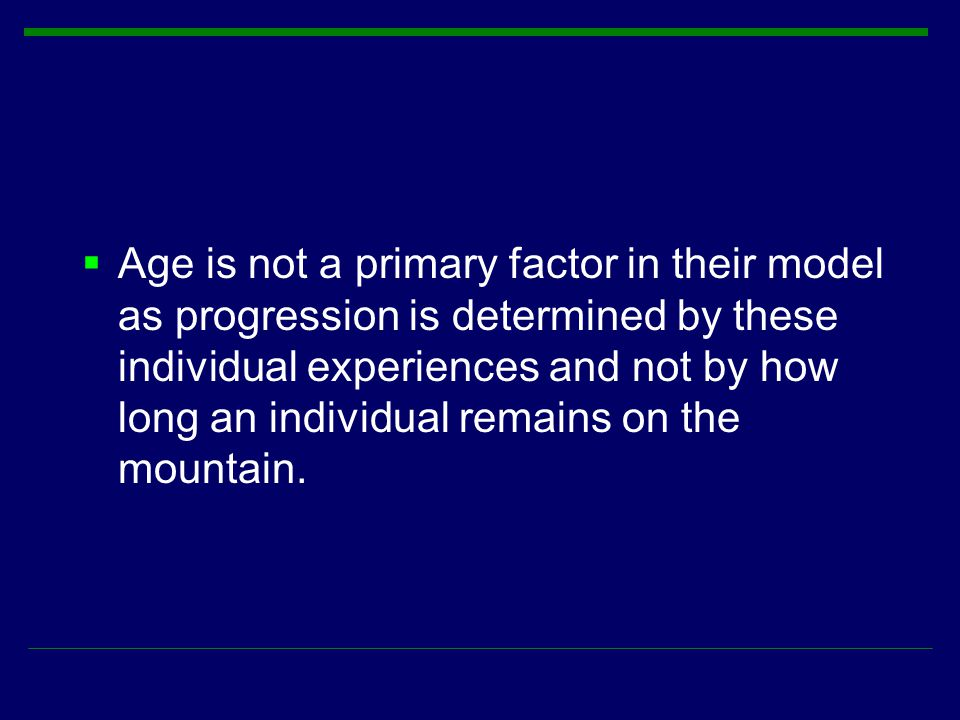  Age is not a primary factor in their model as progression is determined by these individual experiences and not by how long an individual remains on