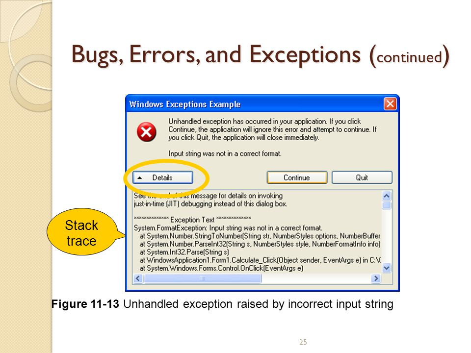 25 Bugs, Errors, and Exceptions ( continued ) Stack trace Figure 11-13 Unhandled exception raised by incorrect input string