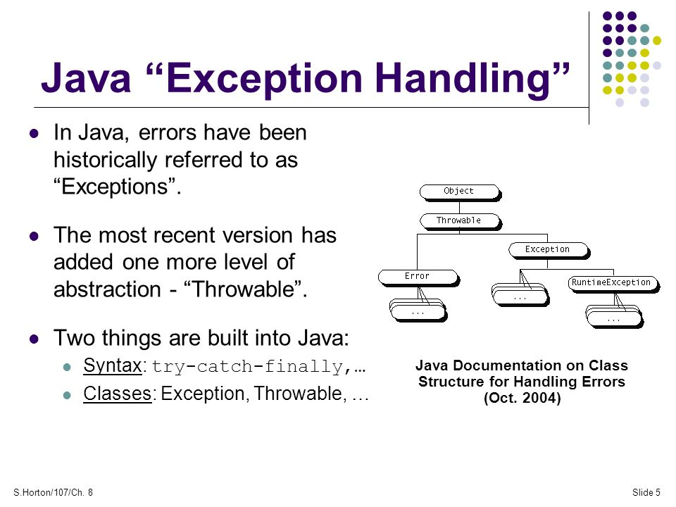 "S.Horton/107/Ch. 8Slide 5 Java ""Exception Handling"" In Java, errors have been historically referred to as ""Exceptions"". The most recent version has ad"