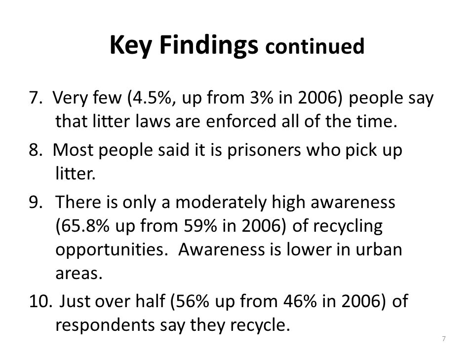 7 Key Findings continued 7.