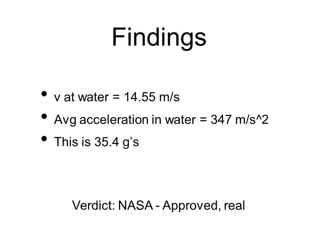 Findings v at water = 14.55 m/s Avg acceleration in water = 347 m/s^2 This is 35.4 g's Verdict: NASA - Approved, real