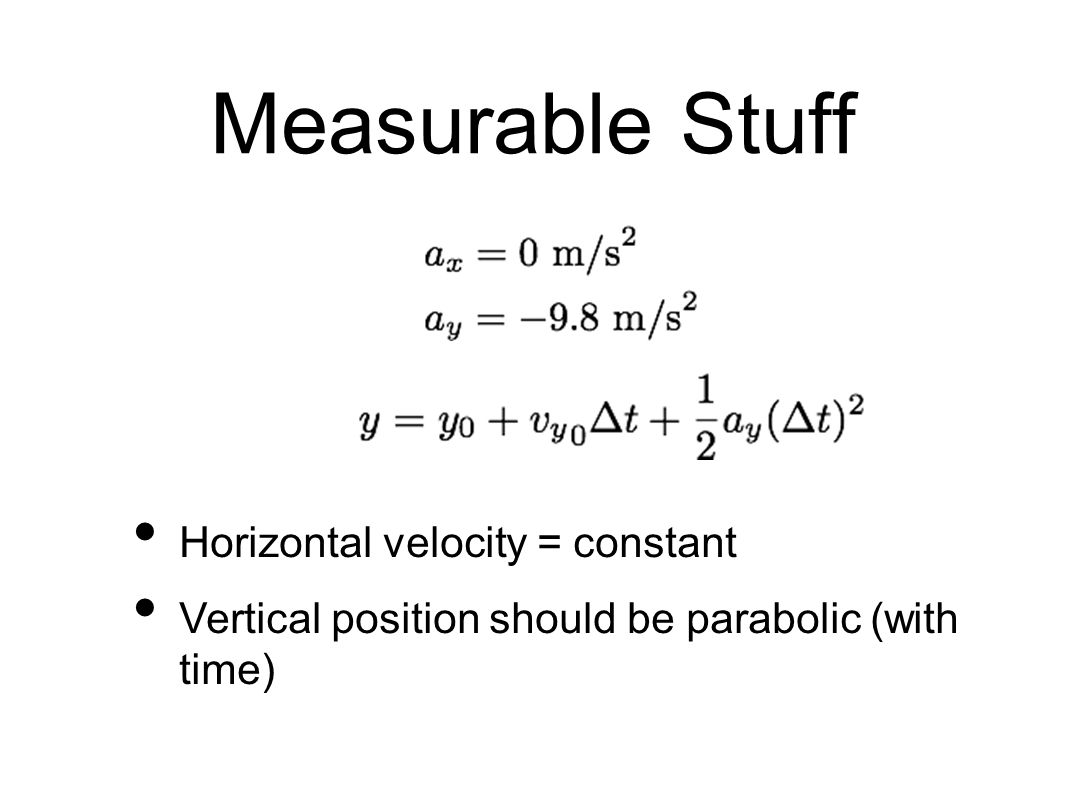 Measurable Stuff Horizontal velocity = constant Vertical position should be parabolic (with time)