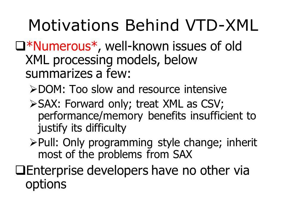 Methods of VTDGen  void parse(): The main parsing function, internally generates VTD records, etc.