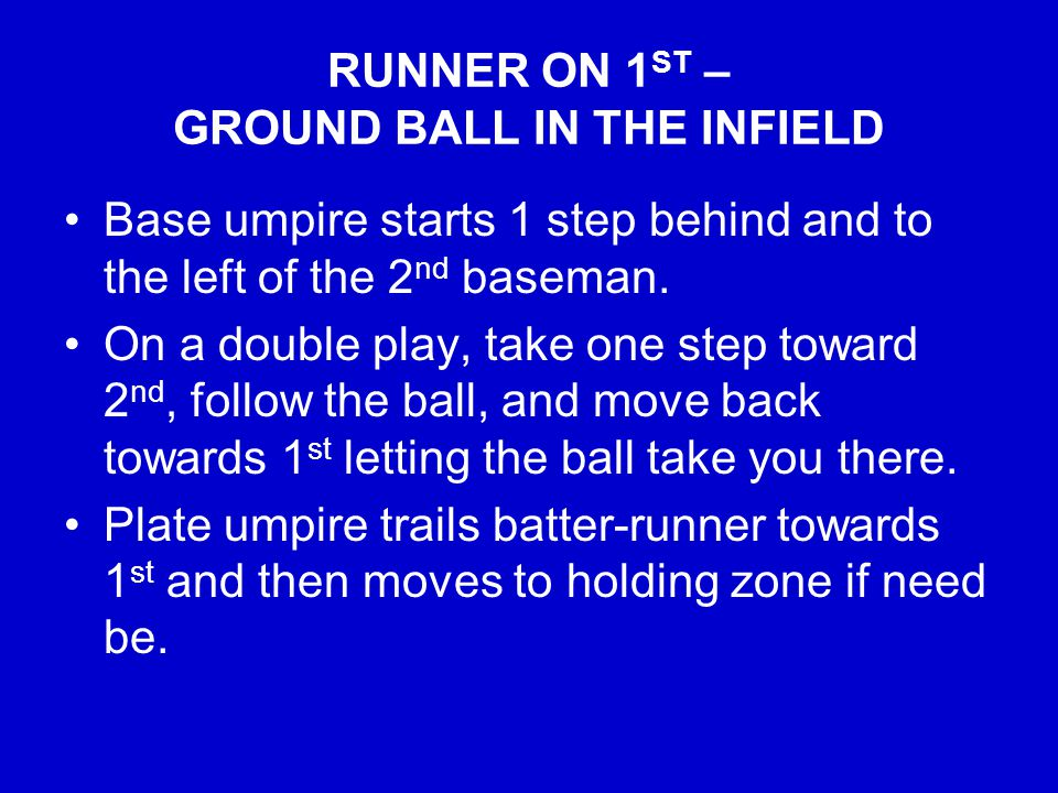 RUNNER ON 1 ST – GROUND BALL IN THE INFIELD Base umpire starts 1 step behind and to the left of the 2 nd baseman.