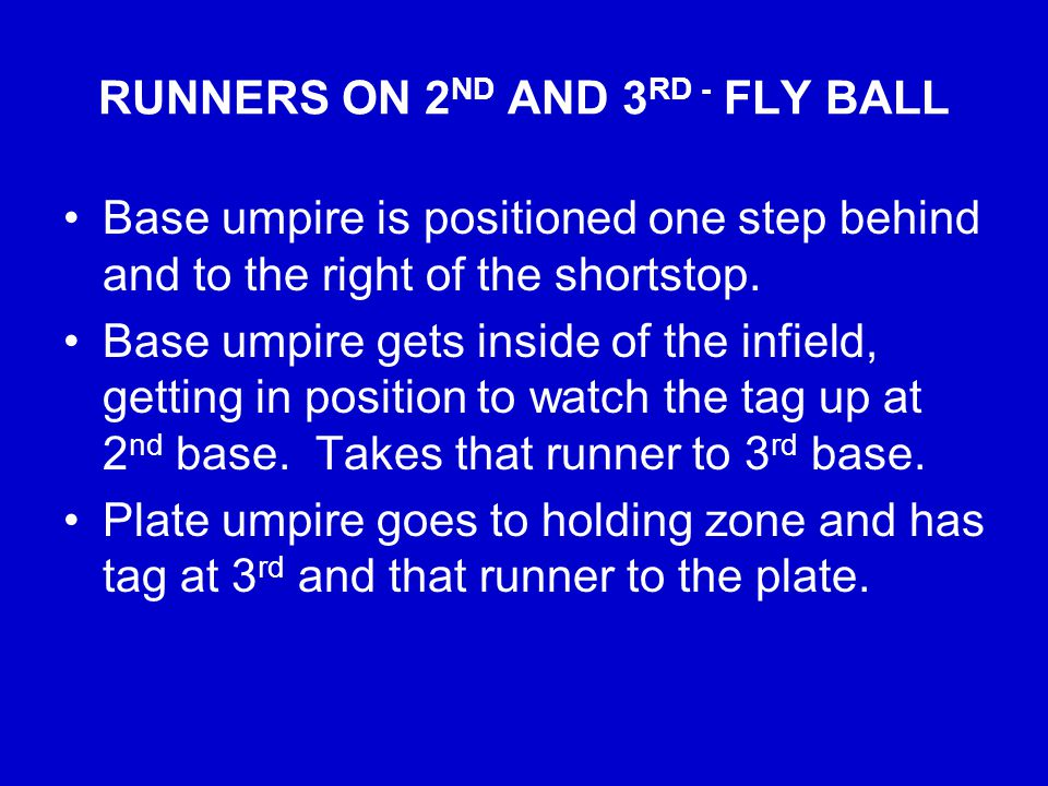 RUNNERS ON 2 ND AND 3 RD - FLY BALL Base umpire is positioned one step behind and to the right of the shortstop.