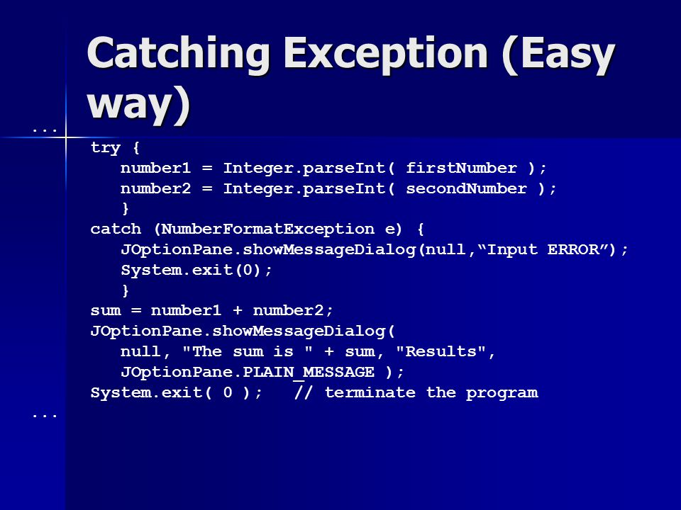 Must deal with thrown exceptions import java.net.*; class Except1 { static URL imageURL; static URL imageURL; public static URL getURL(String urlstr) { public static URL getURL(String urlstr) { return new URL(urlstr); return new URL(urlstr); } public static void main(String[] args) { public static void main(String[] args) { imageURL = getURL( haha ); imageURL = getURL( haha ); }} URL.URL() declared to throw MalformedURLException Except1.java:7: Exception java.net.MalformedURLException must be caught, or it must be declared in the throws clause of this method