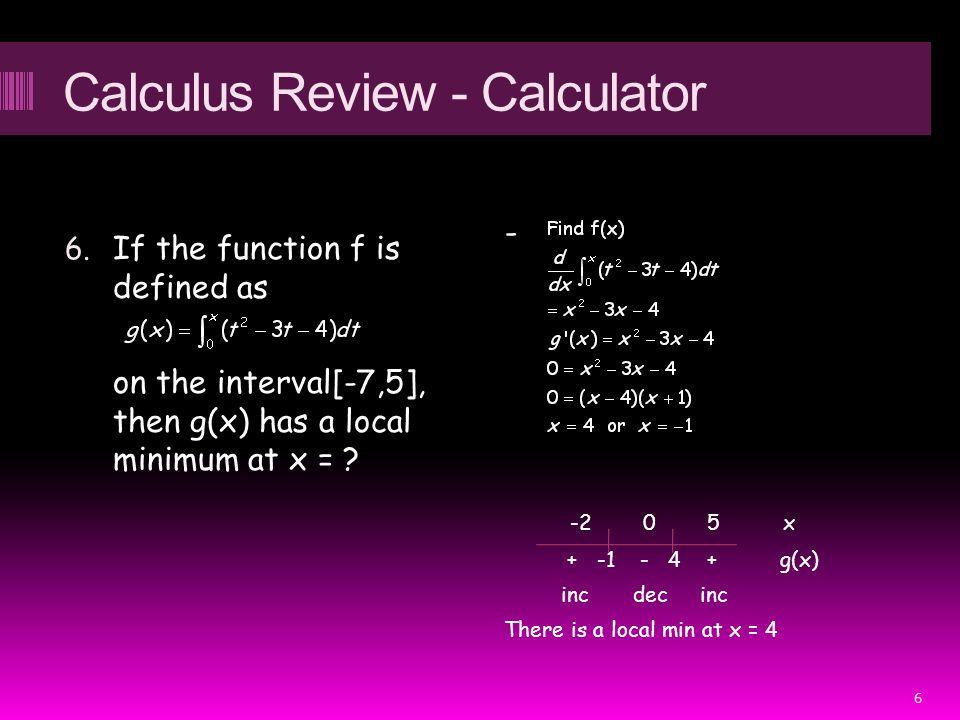 Calculus Review - Calculator 6.
