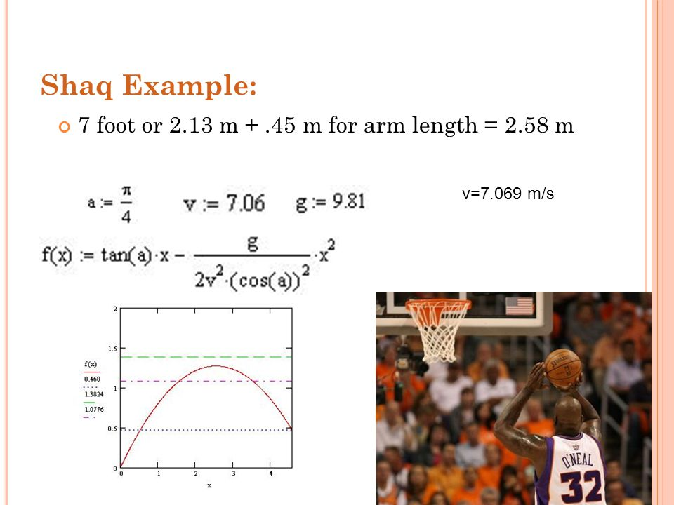 Shaq Example: 7 foot or 2.13 m +.45 m for arm length = 2.58 m v=7.069 m/s