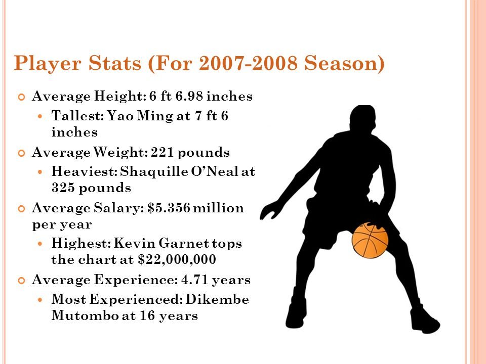 Player Stats (For 2007-2008 Season) Average Height: 6 ft 6.98 inches Tallest: Yao Ming at 7 ft 6 inches Average Weight: 221 pounds Heaviest: Shaquille