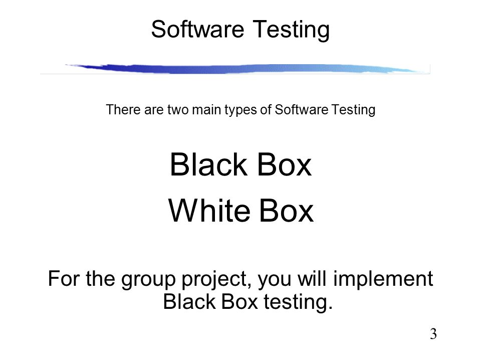 3 Software Testing There are two main types of Software Testing Black Box White Box For the group project, you will implement Black Box testing.