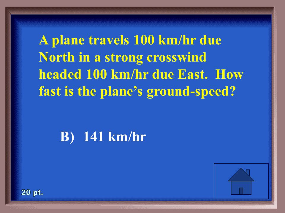 1-20 A plane travels 100 km/hr due North in a strong crosswind headed 100 km/hr due East.