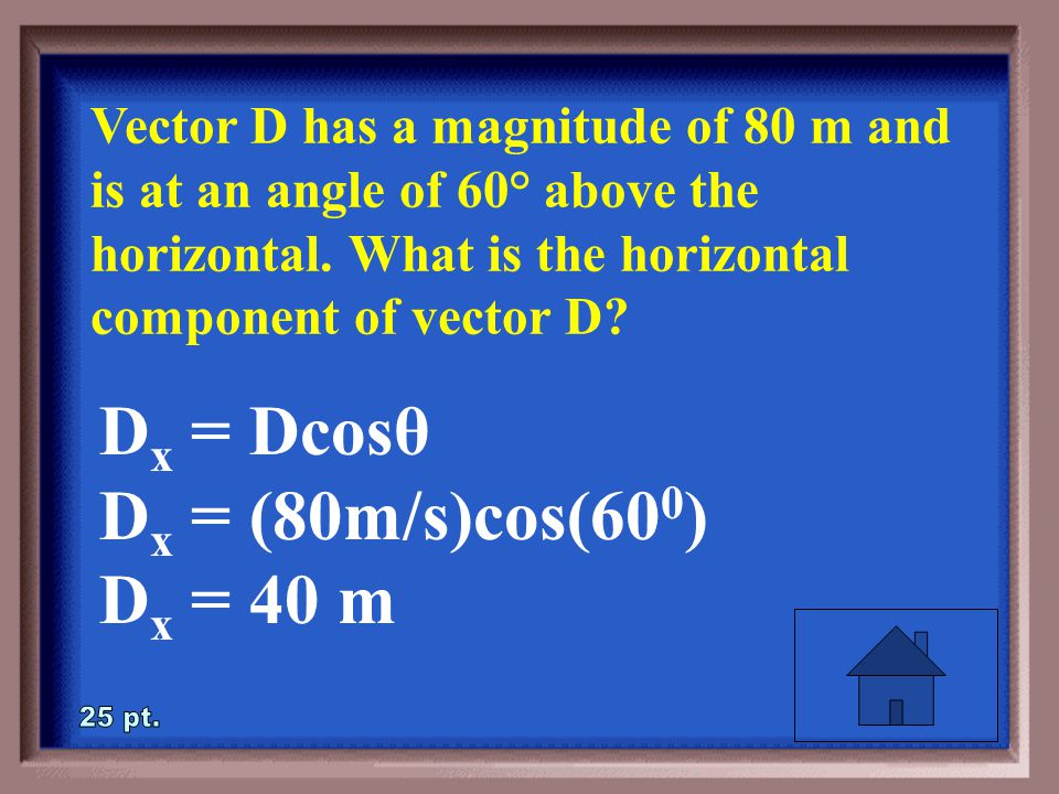 4-25 Vector D has a magnitude of 80 m and is at an angle of 60° above the horizontal.