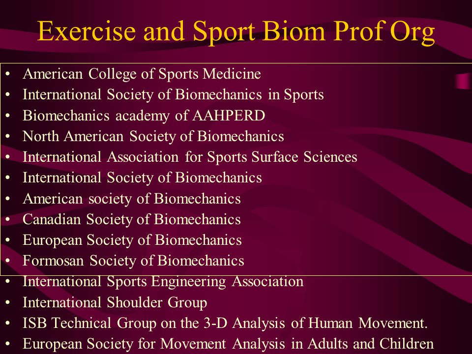 Sport biomechanics journals Research quarterly for exercise and sport Medicine and science in sport and exercise Journal of applied biomechanics Sports biomechanics International journal of sport and health science Journal of sports sciences Sports engineering Pediatric exercise science Journal of orthpaedic and sport physical therapy Journal of biomechanics Journal of athletic training Journal of strength and conditioning research Journal of electromyographic kinesiology Sports medicine