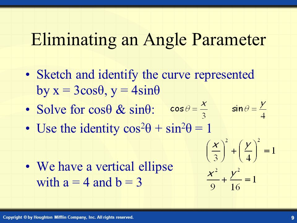Eliminating an Angle Parameter Sketch and identify the curve represented by x = 3cosθ, y = 4sinθ Solve for cosθ & sinθ: Use the identity cos 2 θ + sin