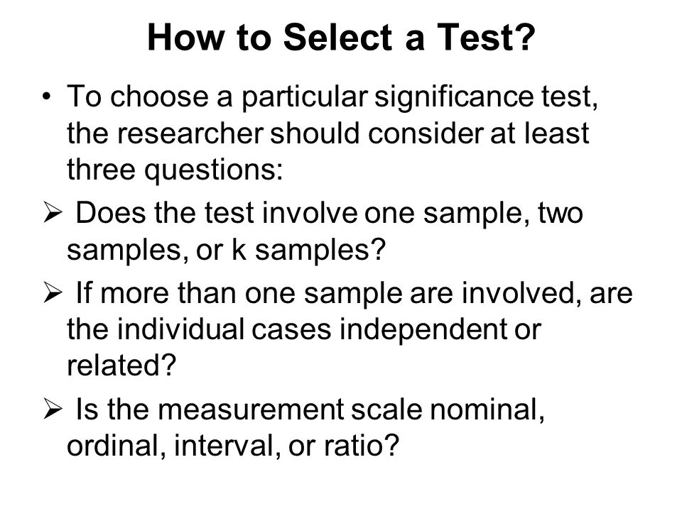 How to Select a Test.