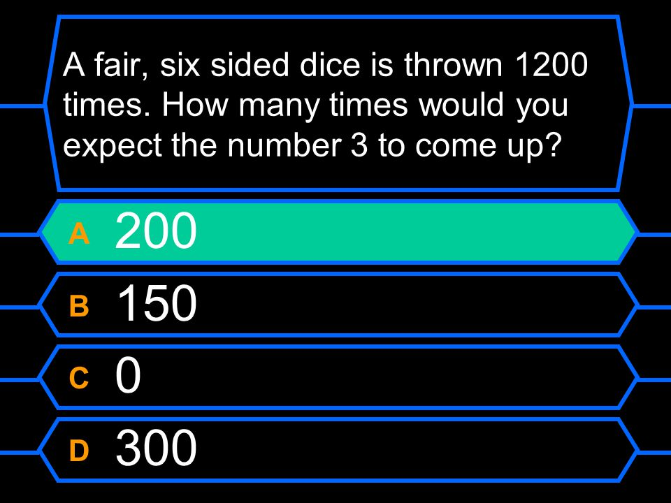 A fair, six sided dice is thrown 1200 times.