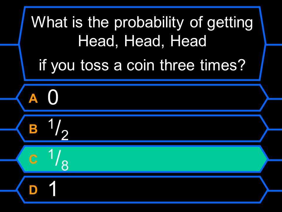 What is the probability of getting Head, Head, Head if you toss a coin three times.