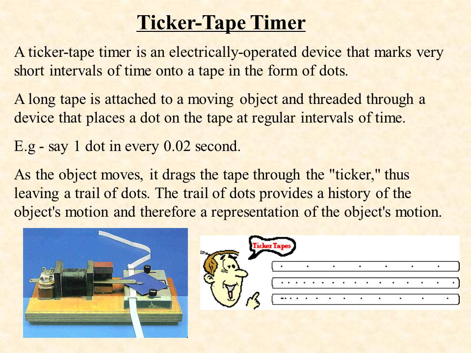 Ticker-Tape Timer A ticker-tape timer is an electrically-operated device that marks very short intervals of time onto a tape in the form of dots. A lo