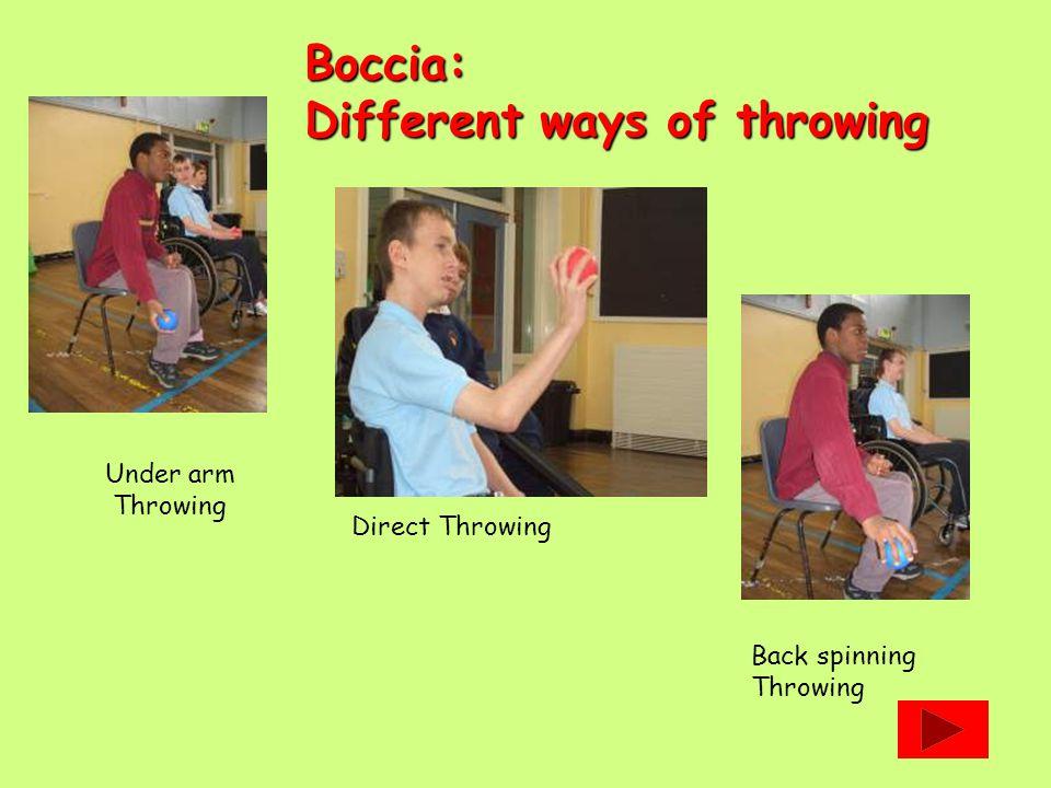 Boccia: Different ways of throwing Under arm Throwing Direct Throwing Back spinning Throwing