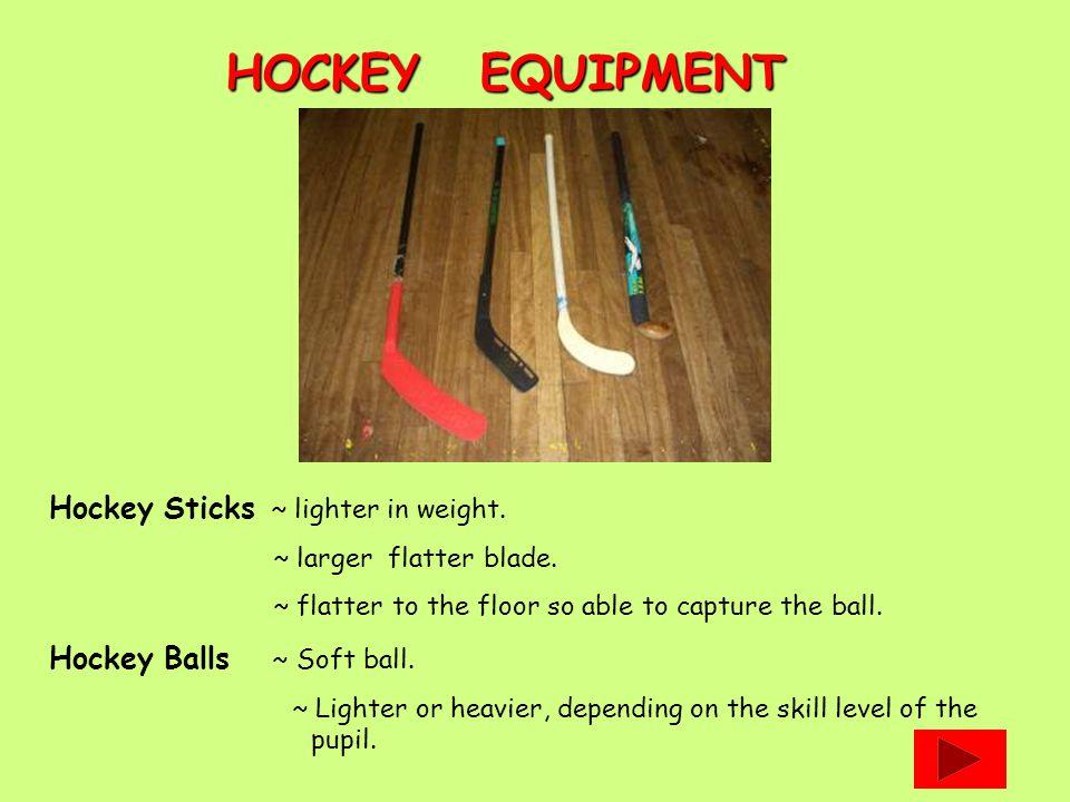 Hockey Sticks ~ lighter in weight. ~ larger flatter blade.