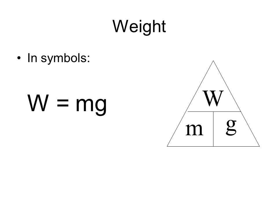 Mass vs. Weight Mass is not Weight Weight is a force - an interaction between 2 objects involving a push or a pull. One of these objects is typically