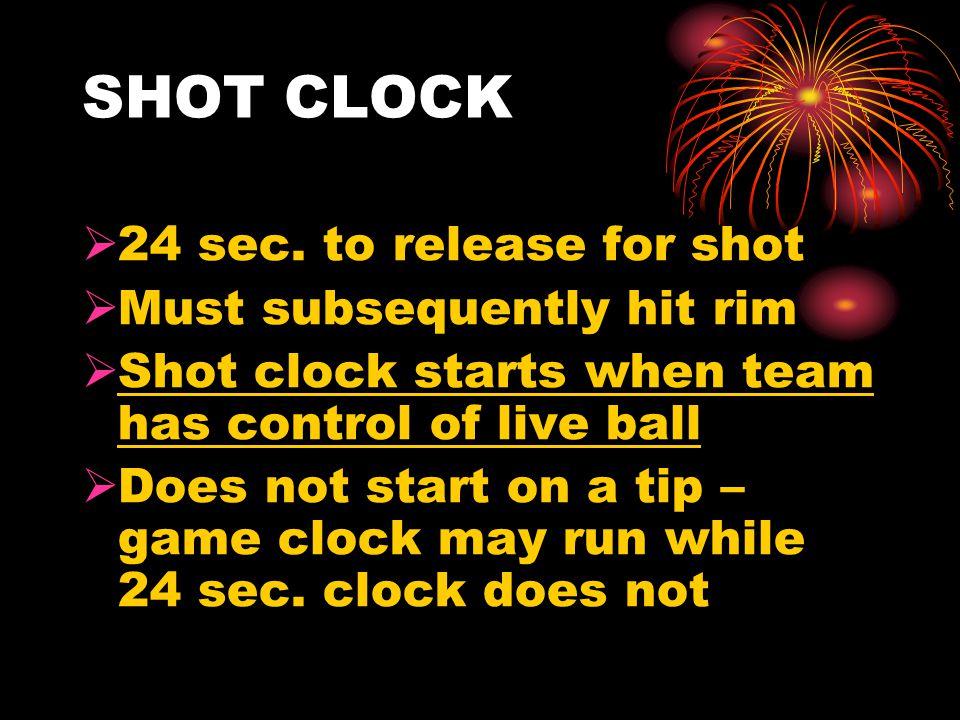 SHOT CLOCK  24 sec.