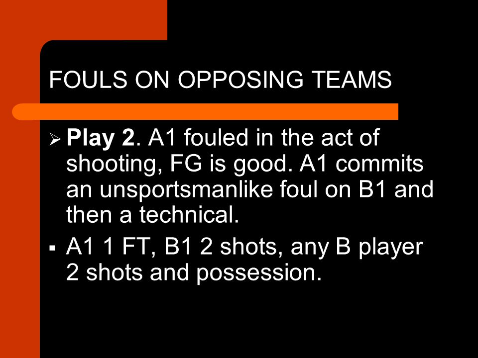 FOULS ON OPPOSING TEAMS  Play 2. A1 fouled in the act of shooting, FG is good.