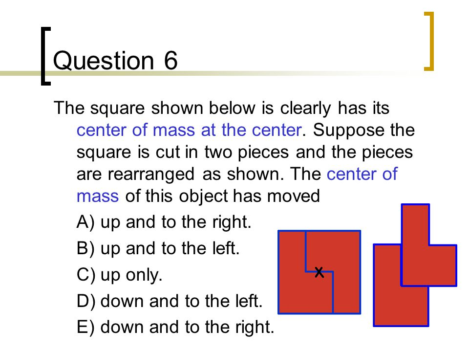Question 6 The square shown below is clearly has its center of mass at the center.