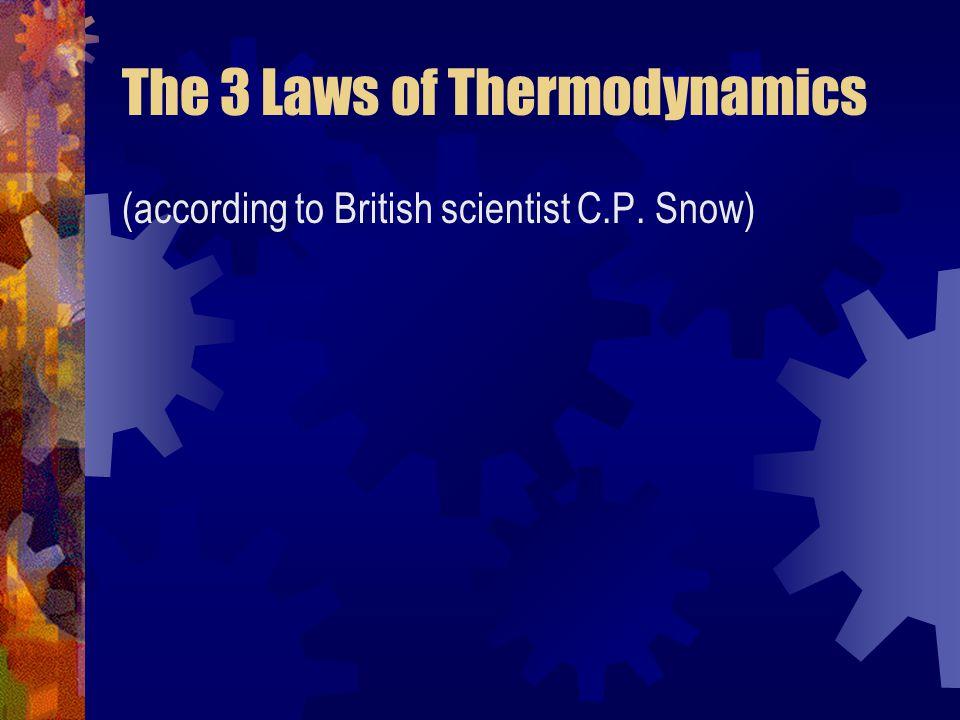 The 3 Laws of Thermodynamics (according to British scientist C.P. Snow)