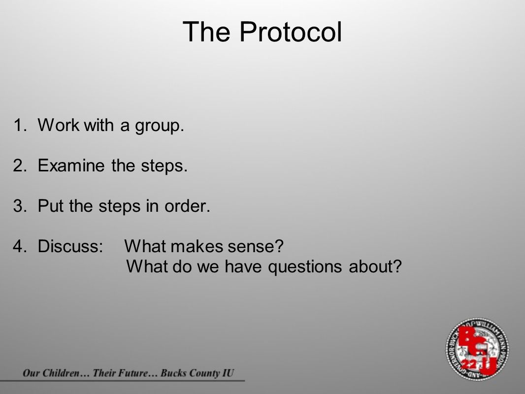 The Protocol 1. Work with a group. 2. Examine the steps. 3. Put the steps in order. 4. Discuss: What makes sense? What do we have questions about?