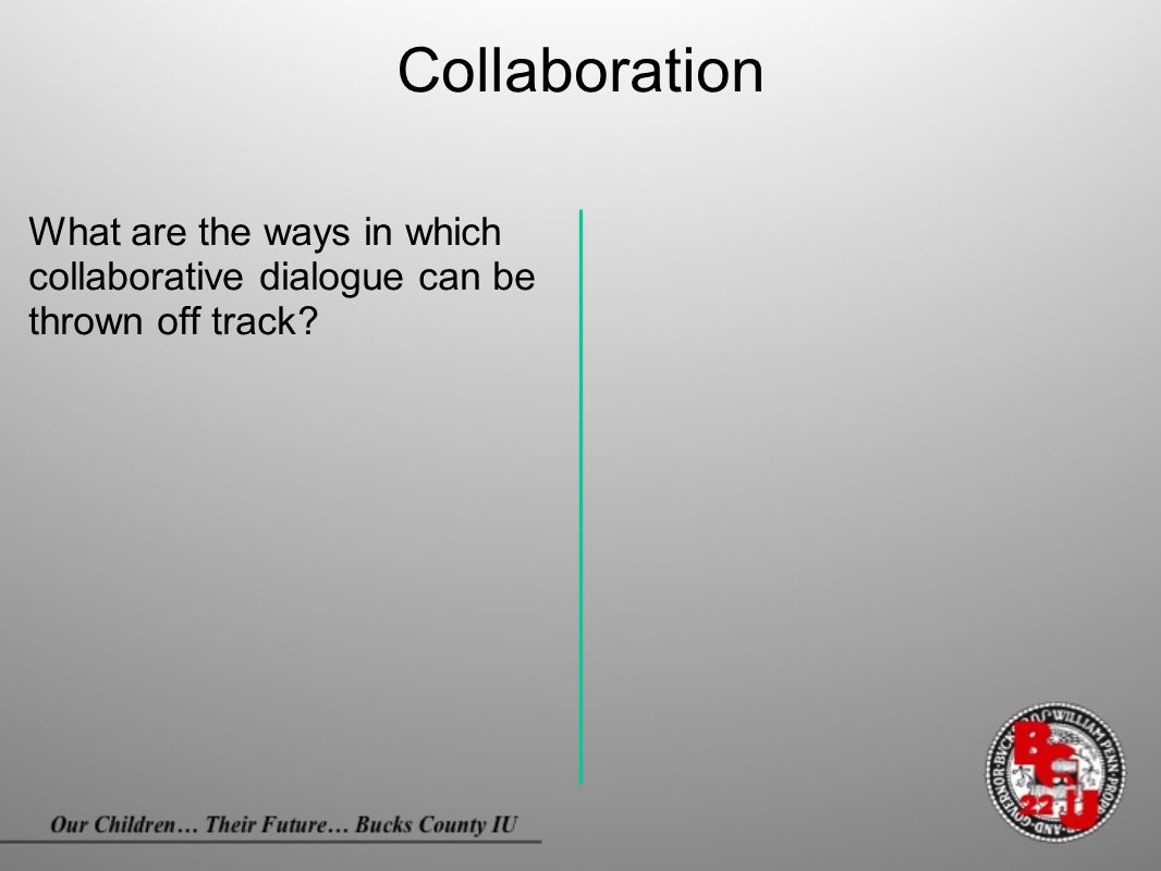 Collaboration What are the ways in which collaborative dialogue can be thrown off track?