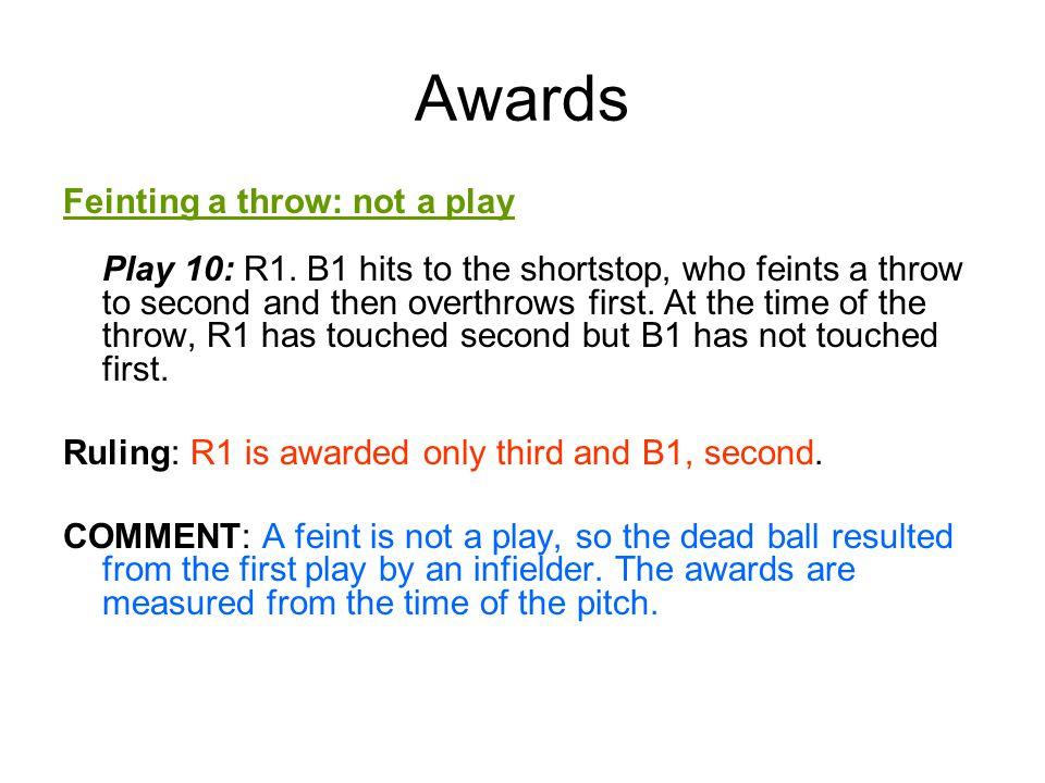Awards Feinting a throw: not a play Play 10: R1.