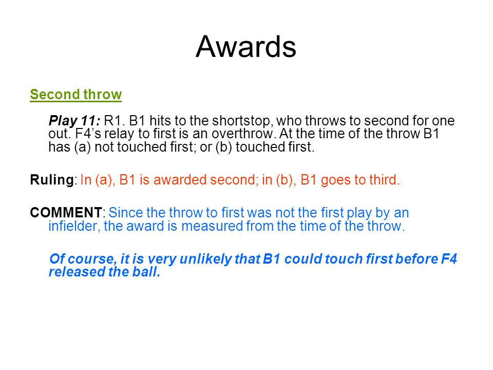 Awards Second throw Play 11: R1. B1 hits to the shortstop, who throws to second for one out.