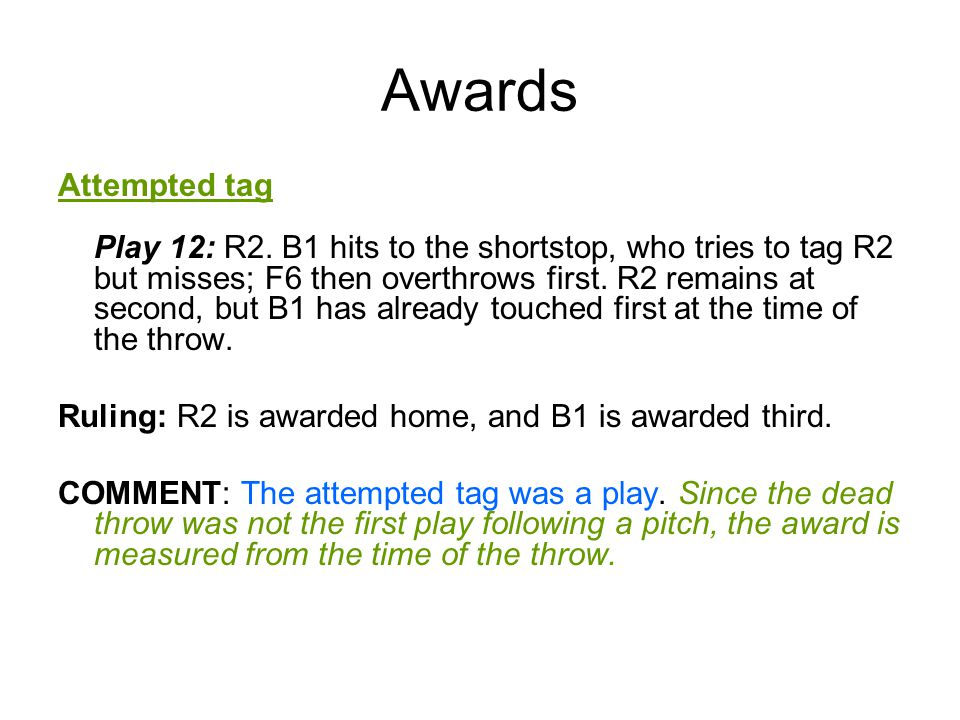 Awards Attempted tag Play 12: R2.