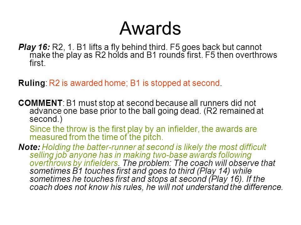 Awards Play 16: R2, 1. B1 lifts a fly behind third.