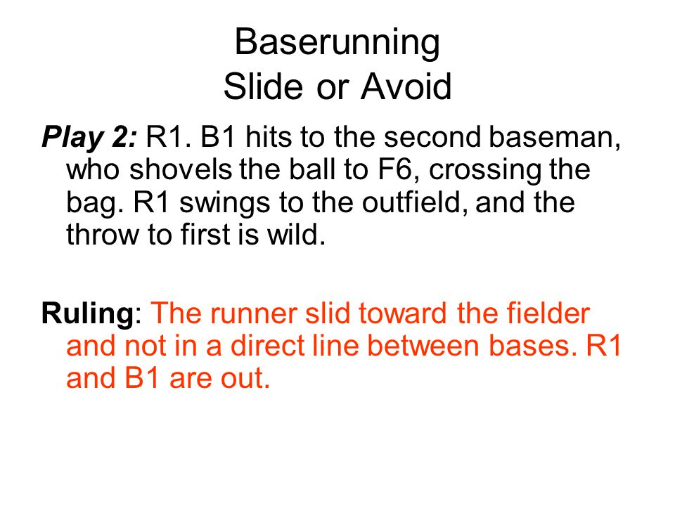 Baserunning Slide or Avoid Play 3: R1.