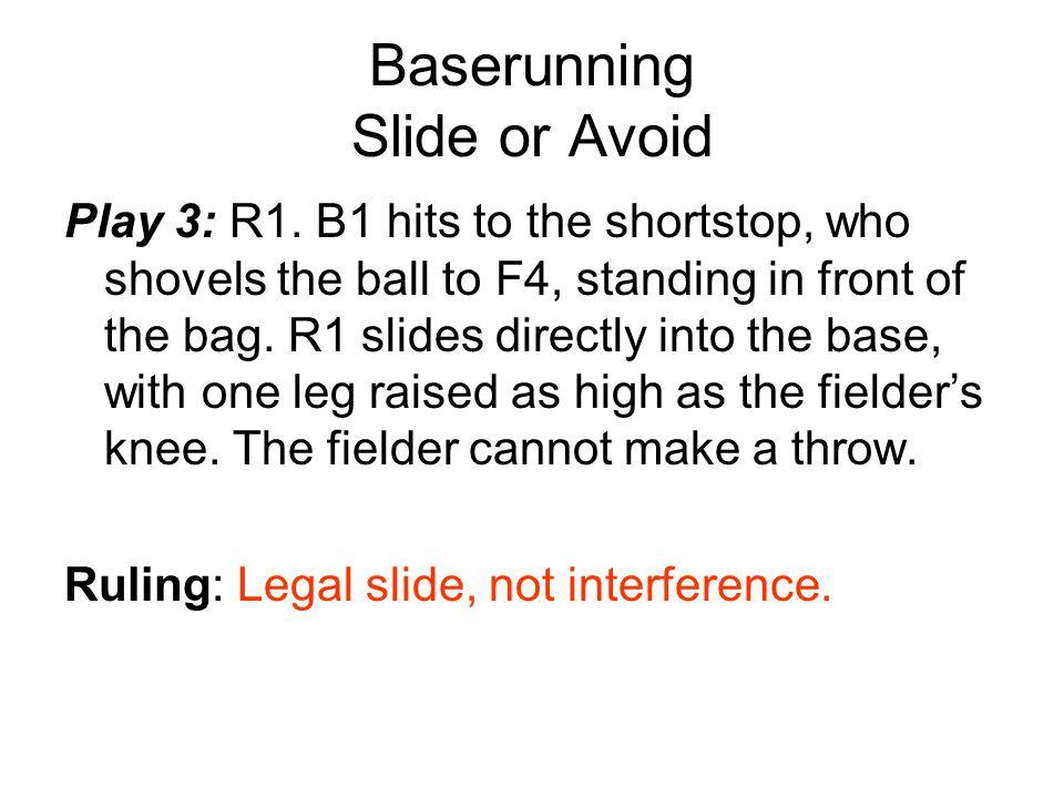Baserunning Slide or Avoid Play 3: R1.
