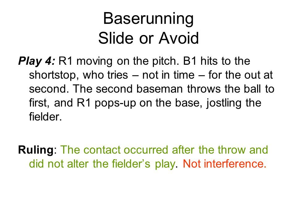 Baserunning Slide or Avoid Play 4: R1 moving on the pitch.