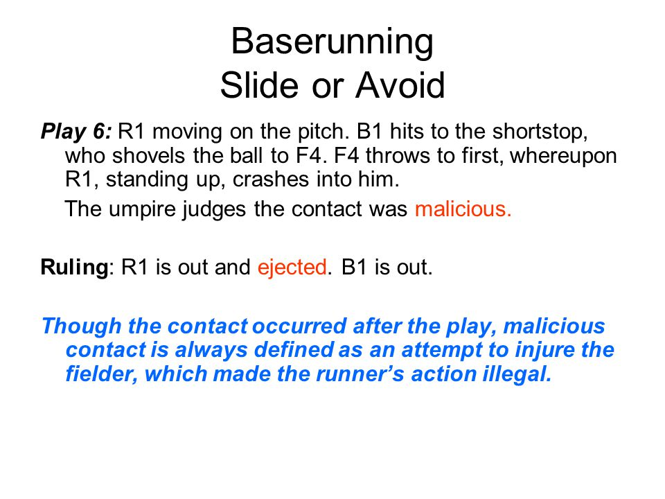 Baserunning Slide or Avoid Play 6: R1 moving on the pitch.