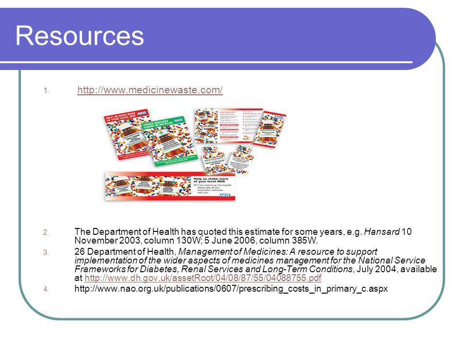 Resources 1. http://www.medicinewaste.com/http://www.medicinewaste.com/ 2.