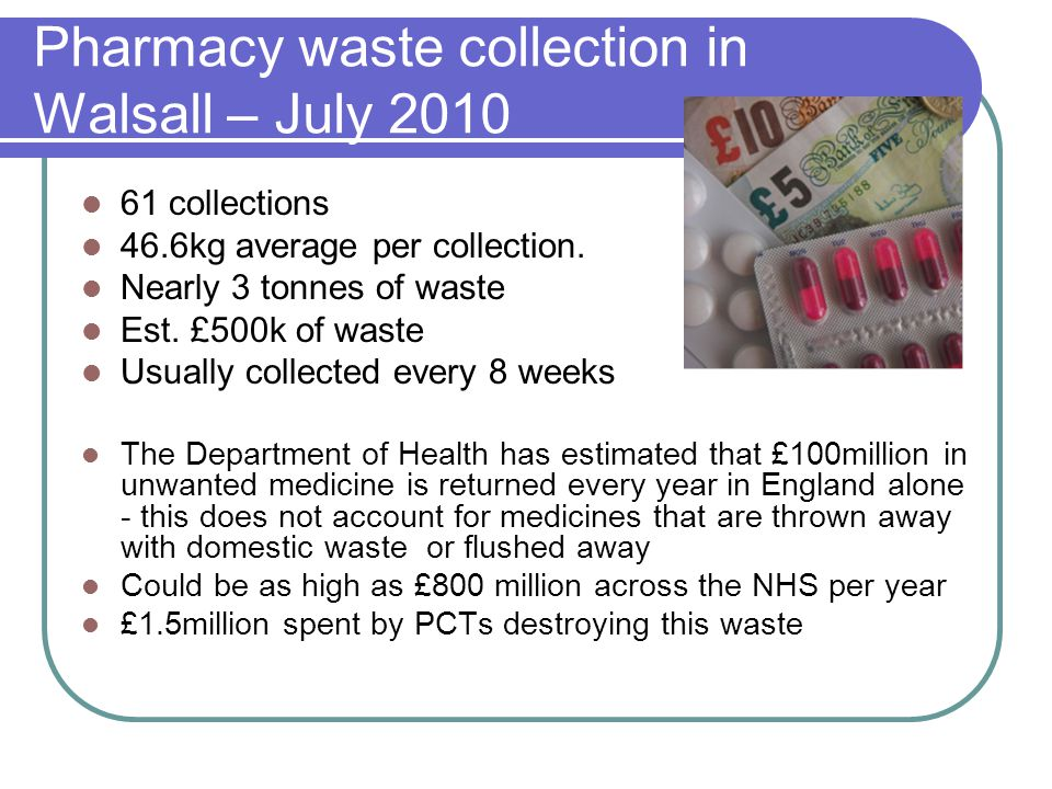 Pharmacy waste collection in Walsall – July 2010 61 collections 46.6kg average per collection.