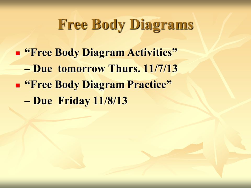 Free Body Diagrams Free Body Diagram Activities Free Body Diagram Activities – Due tomorrow Thurs.