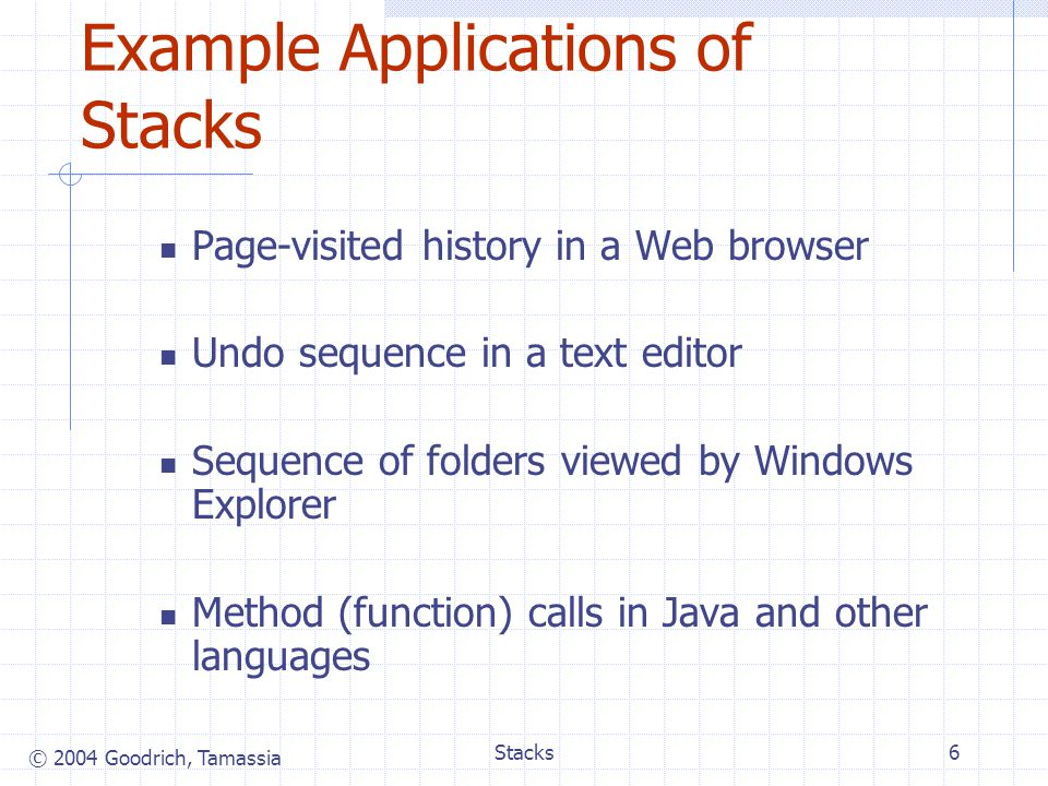 © 2004 Goodrich, Tamassia Stacks7 Method Stack in the JVM The Java Virtual Machine (JVM) keeps track of the chain of active methods with a stack When a method is called, the JVM pushes on the stack a frame containing Local variables and return value Program counter, keeping track of the statement being executed When a method ends, its frame is popped from the stack and control is passed to the method on top of the stack Allows for recursion main() { int i = 5; foo(i); } foo(int j) { int k; k = j+1; bar(k); } bar(int m) { … } bar PC = 1 m = 6 foo PC = 3 j = 5 k = 6 main PC = 2 i = 5