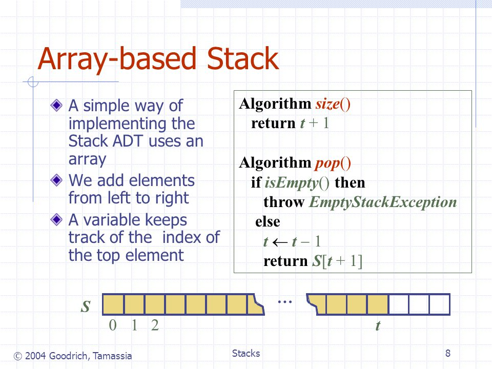 © 2004 Goodrich, Tamassia Stacks8 Array-based Stack A simple way of implementing the Stack ADT uses an array We add elements from left to right A variable keeps track of the index of the top element S 012 t … Algorithm size() return t + 1 Algorithm pop() if isEmpty() then throw EmptyStackException else t  t  1 return S[t + 1]