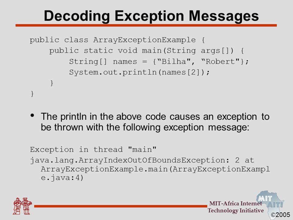 © 2005 MIT-Africa Internet Technology Initiative Exception Class Hierarchy Exception RuntimeException ArrayIndexOutOfBounds NullPointerException IllegalArgumentException etc.