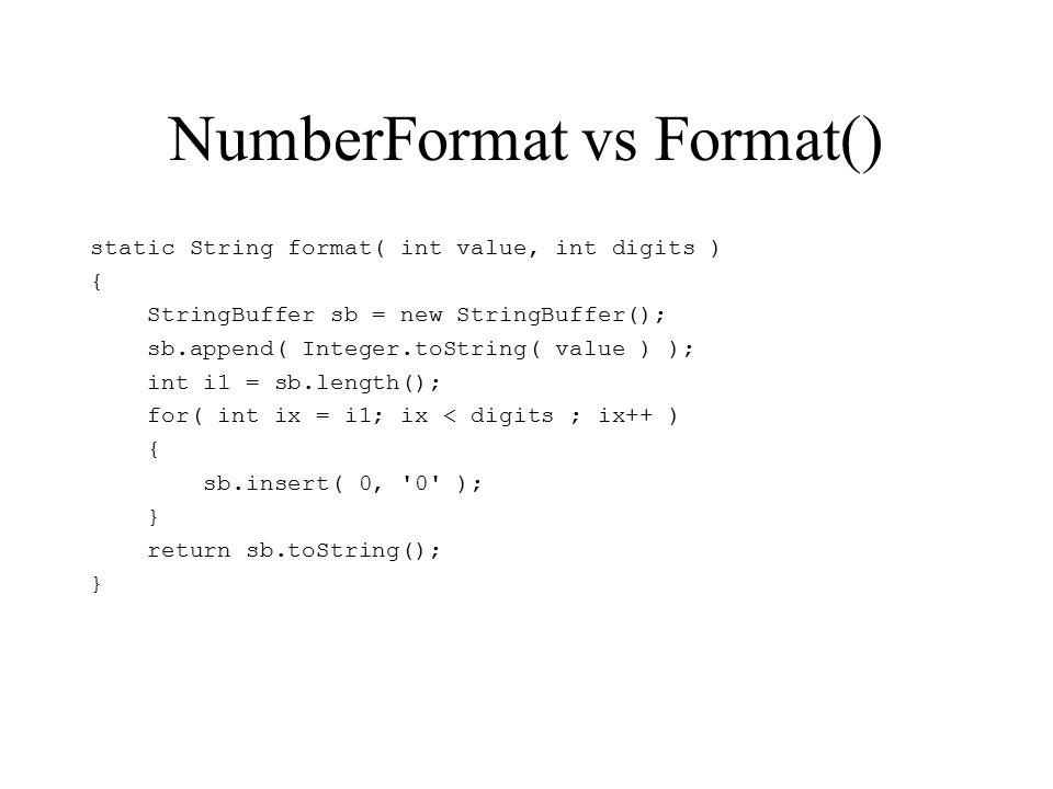 NumberFormat vs Format() static String format( int value, int digits ) { StringBuffer sb = new StringBuffer(); sb.append( Integer.toString( value ) ); int i1 = sb.length(); for( int ix = i1; ix < digits ; ix++ ) { sb.insert( 0, 0 ); } return sb.toString(); }