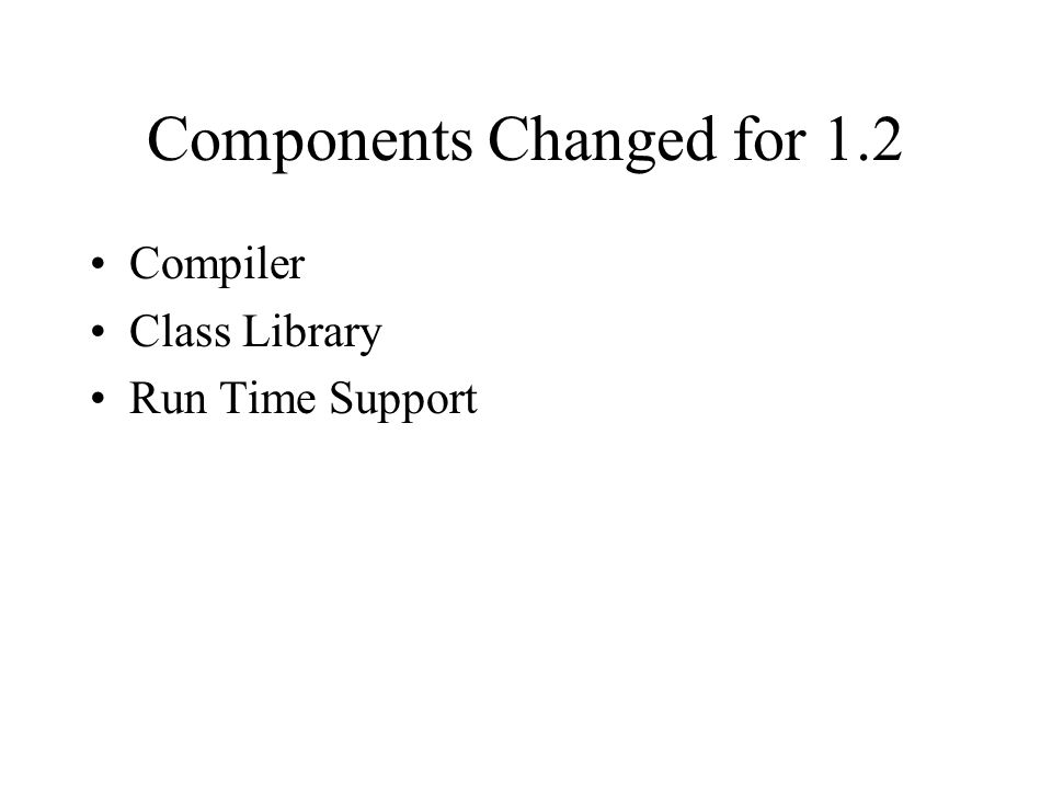 Components Changed for 1.2 Compiler Class Library Run Time Support
