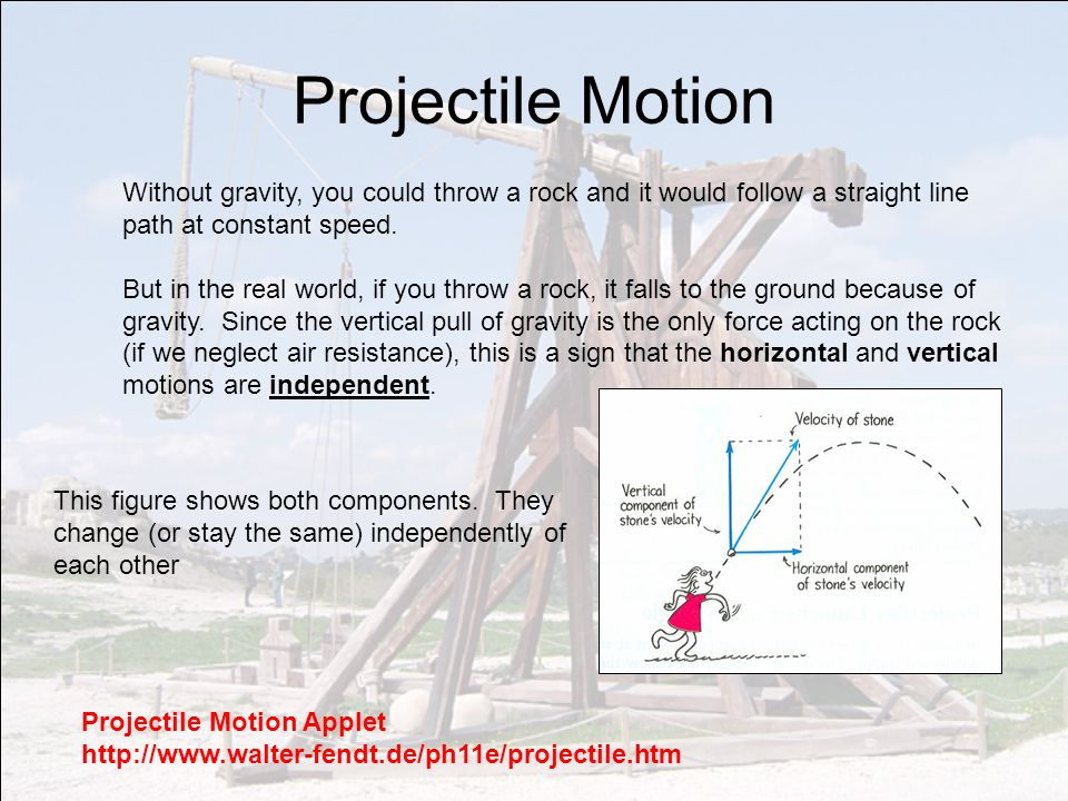 Projectile Motion Without gravity, you could throw a rock and it would follow a straight line path at constant speed.